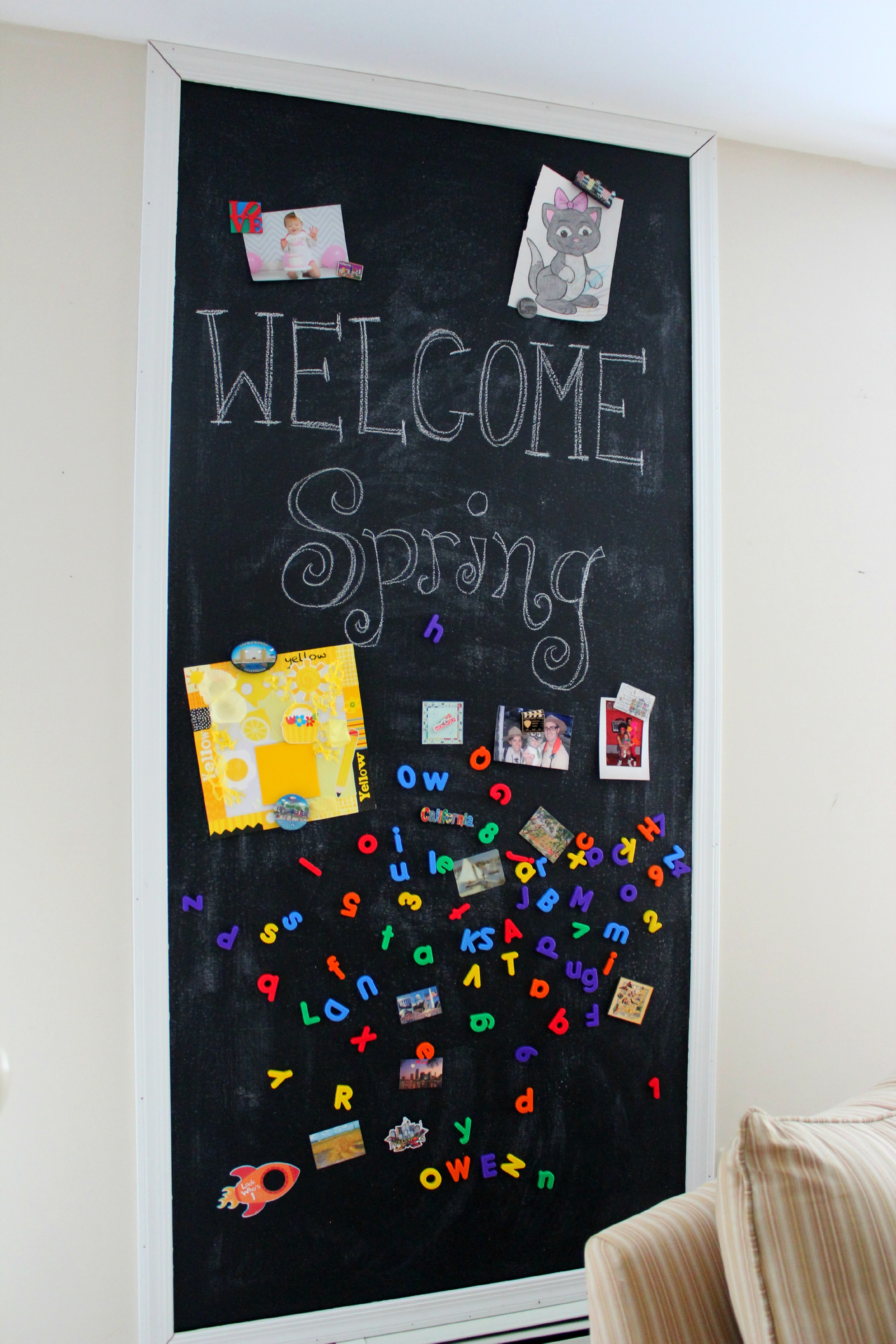 DIY Magnetic Chalkboard Wall - Ice Cream Off Paper Plates